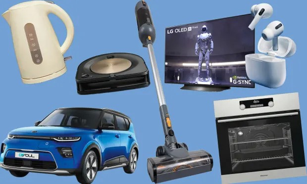 Which? products of the year, clockwise from top left: Asda's George Home Cream Kettle; the iRobot Roomba S9+ vacuum cleaner; the Halo Capsule cordless vacuum cleaner; the LG Oled 48in TV; the Hisense built-in oven; Apple AirPods Pro; the Kia Soul electric car. Photographs: Which?