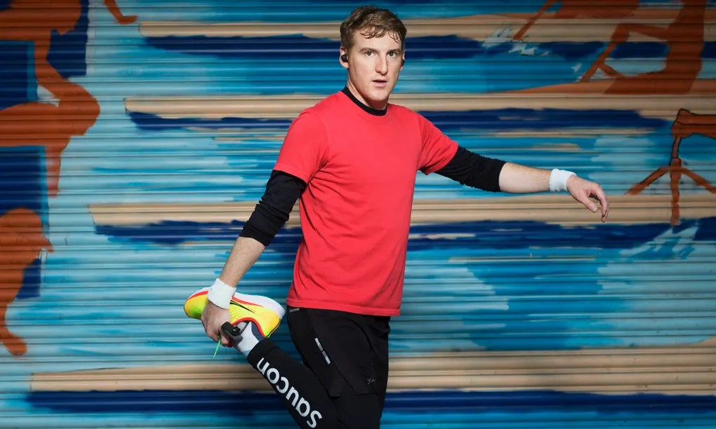 Stretch it out: 'The right fitness app makes me feel like Ivan Drago in Rocky IV.' Seamas wears Saucony Ride 13 trainers and tights (saucony.co.uk) Photograph: Pål Hansen/The Observer